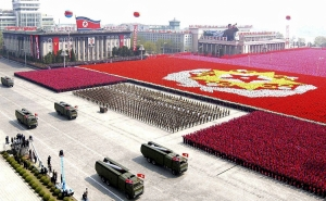 A North Korean missile unit takes part in a military parade to celebrate the 75th anniversary of the founding of the Korean People's Army in Pyongyang in this picture taken April 25, 2007. North Korea fired several short-range missiles towards the Sea of Japan on Friday morning, Kyodo news agency said, quoting Japanese and U.S. Officials. REUTERS/Korea News Service (NORTH KOREA) JAPAN OUT